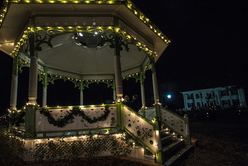 Historic structures decorated for the holidays.